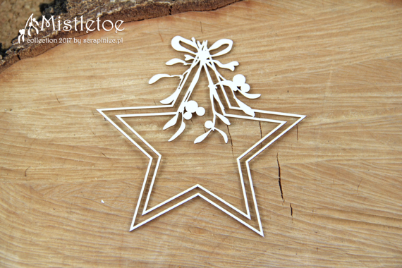 Chipboard - Christmas star - Mistletoe