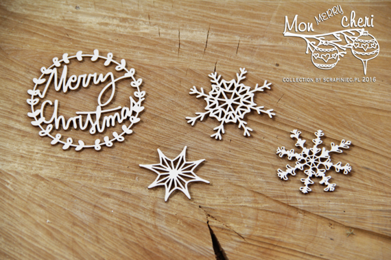 Chipboard Christmas themes -Mon Merry cheri - Merry Christmas 01