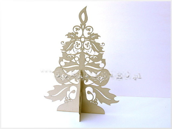 Chipboard Christmas tree 3D - Chipboard - 20 x 15 cm