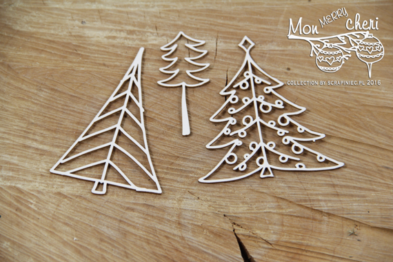 Chipboard Christmas trees - Mon Merry cheri