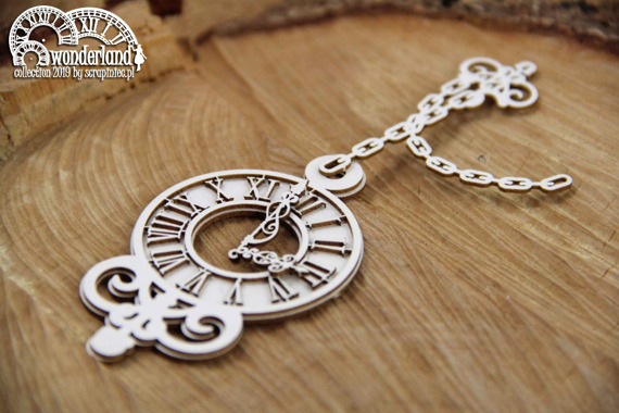 Chipboard - Clock on chain - Alice in Wonderland