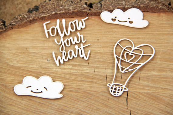 Chipboard - Clouded hearts - Baloon