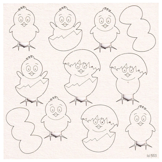 Chipboard Easter chicks with eggs (9 pcs)