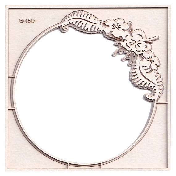 Chipboard - Fern - 2-Layered Round Frame