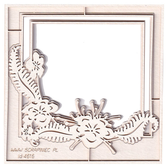 Chipboard - Fern - 2-layers Square Frame