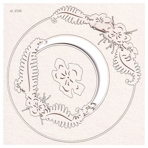 Chipboard - Fern - Round Frame 02