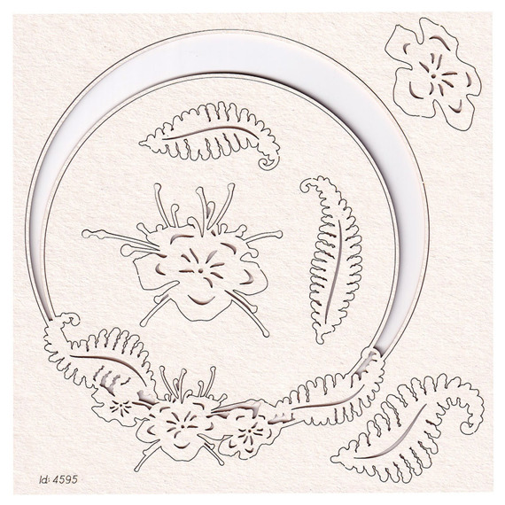 Chipboard - Fern - Round frame with fern