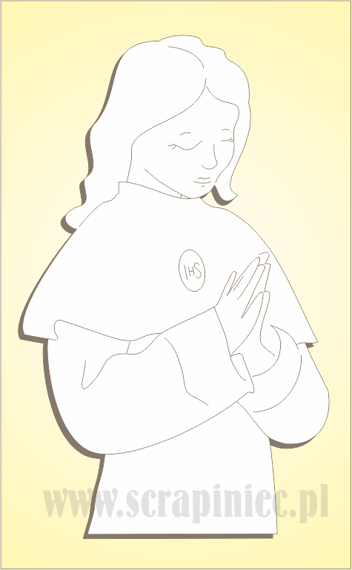 Chipboard First Communion - girl's silhouette 1 pcs
