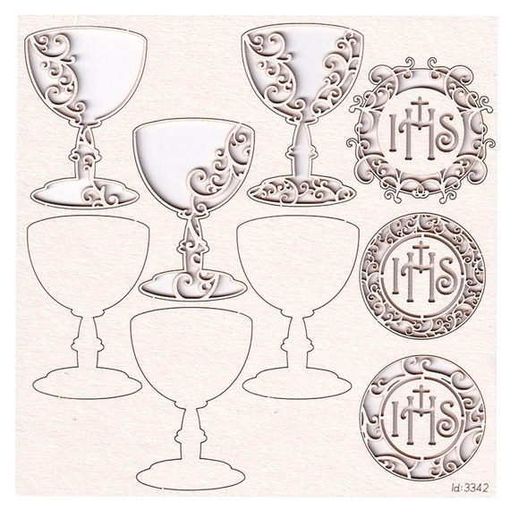 Chipboard First Communion set - chalice and host - Innocence - (3 pcs) - 3D
