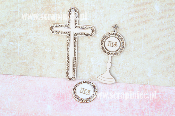 Chipboard First Communion set - cross/ monstrance/host ornaments