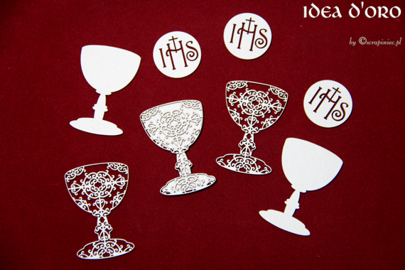 Chipboard First Communion set - host and chalice -Idea d'oro
