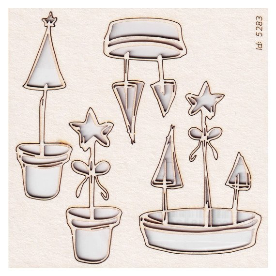 Chipboard - Flowers of Winter - Christmas pots