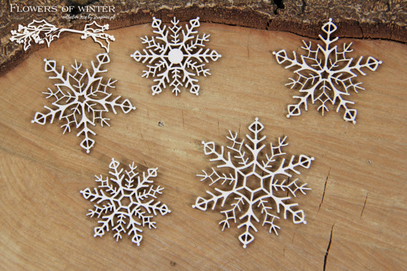 Chipboard - Flowers of Winter - Snowflakes