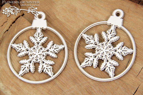 Chipboard - Flowers of Winter - two 2-layered baubles