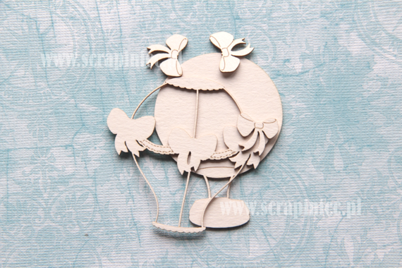 Chipboard Flying balloon with bows