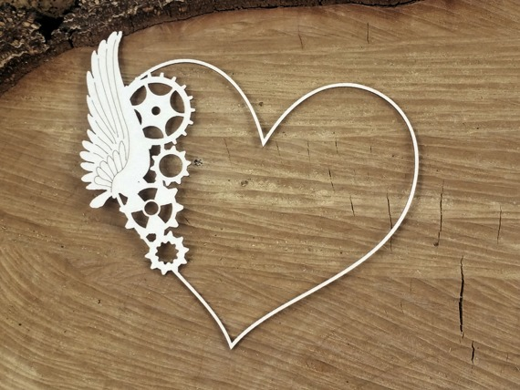 Chipboard - Frame with a wing - Steampunk