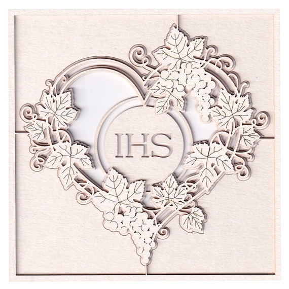 Chipboard - Grapevine - 2 - layered heart