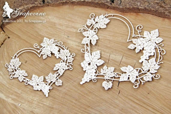 Chipboard - Grapevine - heart frame