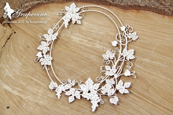 Chipboard - Grapevine - oval frame 03