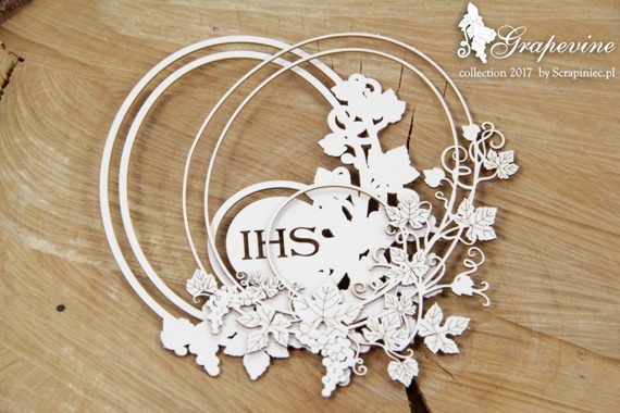 Chipboard - Grapevine - oval frame with host - 2- layers