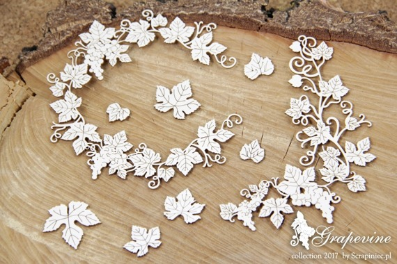Chipboard - Grapevine - wreath and leaves