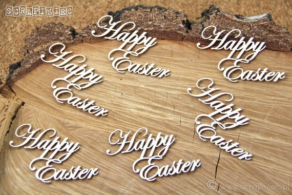 Chipboard - Happy Easter - set 6 inscriptions - Scrapiniec