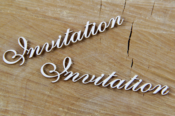 Chipboard Lettering - Invitation - 10 pcs