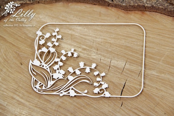 Chipboard - Lilly of the valley - Rectangle Frame 01