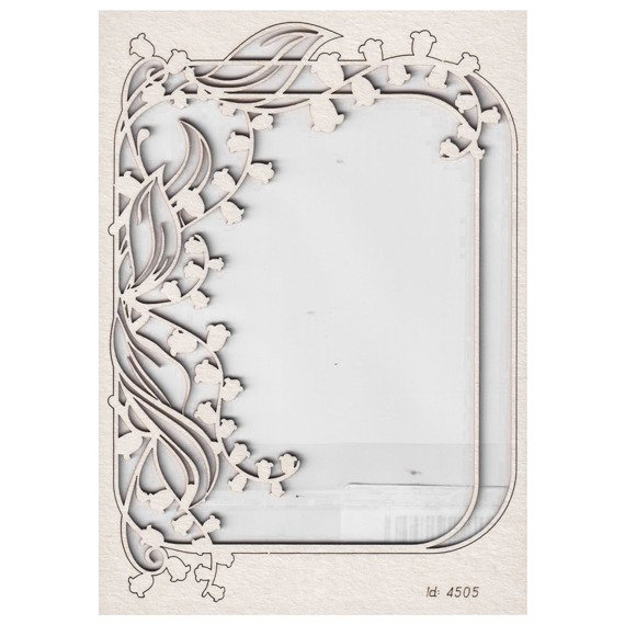 Chipboard - Lilly of the valley - Rectangle Frame 02
