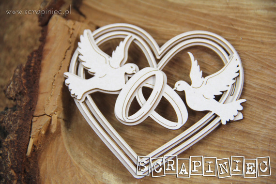 Chipboard - Love in 3D - Heart 01 - 3-layers
