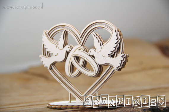 Chipboard - Love in 3D - Heart, doves and rings 3D