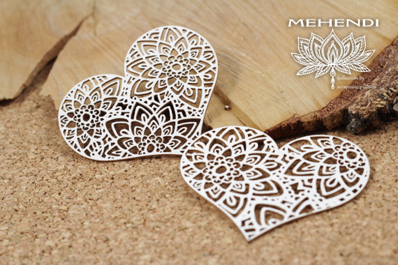 Chipboard - Mehendi - Lace Hearts
