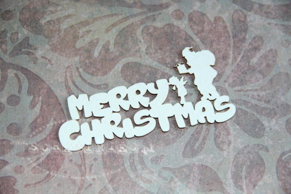 Chipboard Merry Christmas Lettering with Santa