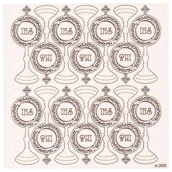 Chipboard Monstrance ornament - First Communion 02 - (14 pcs)
