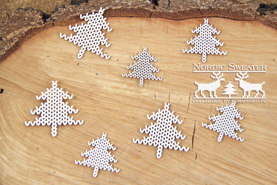 Chipboard - Nordic sweater - Christmas Trees