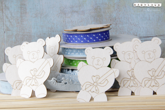 Chipboard Party Teddies with heart - Babyland