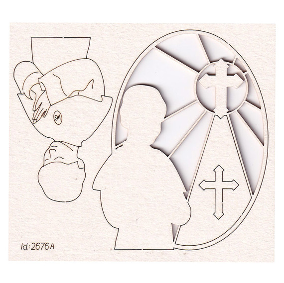 Chipboard Picture of a boy with stained glass window and cross - First Communion