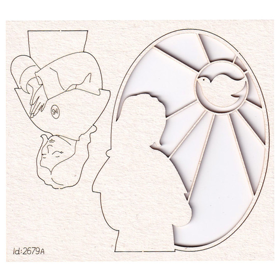 Chipboard Picture - oval stained glass, girl and dove
