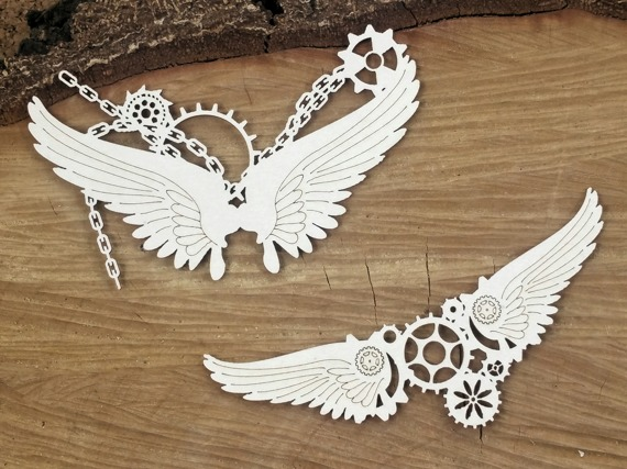 Chipboard - Small wings in chains - Steampunk