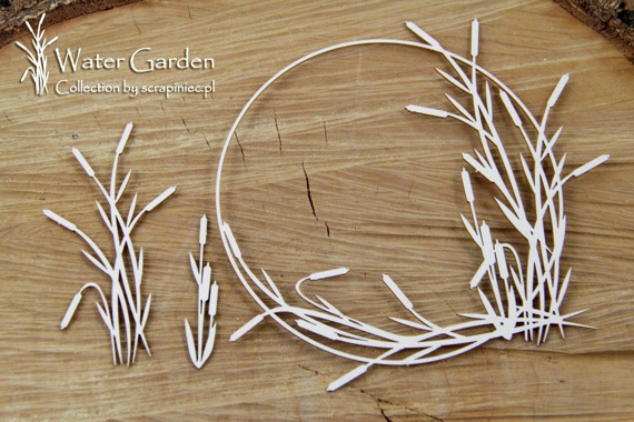 Chipboard - Water Plants - Round Frame with cattail