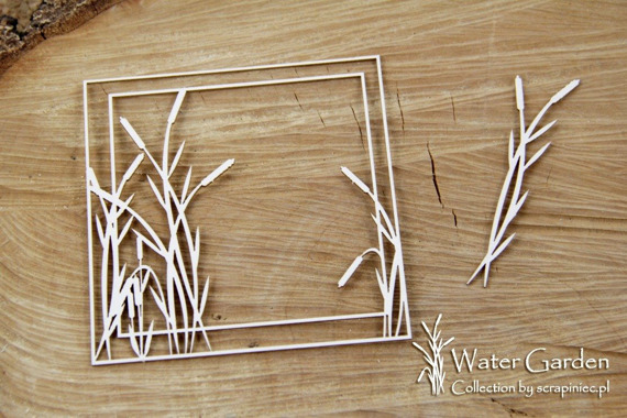 Chipboard - Water Plants -Square frame with cattail
