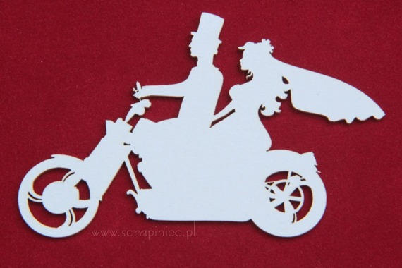 Chipboard Wedding bike - newlyweds