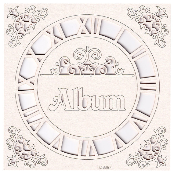 Chipboard Workshop Kit - Clock with ornaments and album lettering