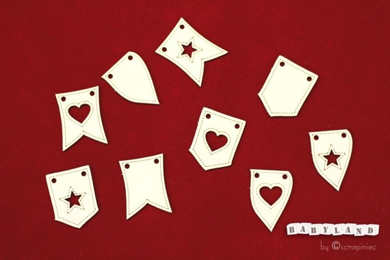 Chipboard baby decoration flag- Babyland