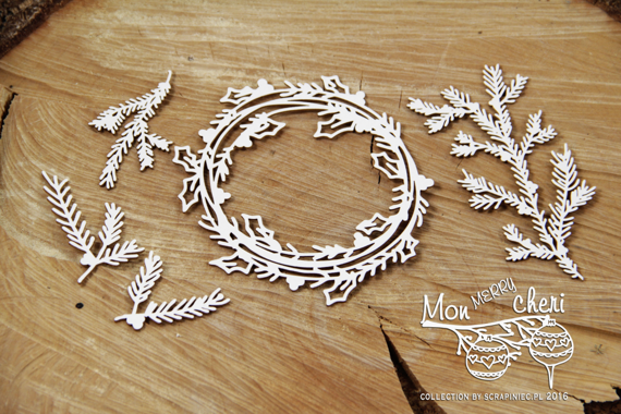 Chipboard - big wreath and Christmas tree branches - Mon Merry cheri