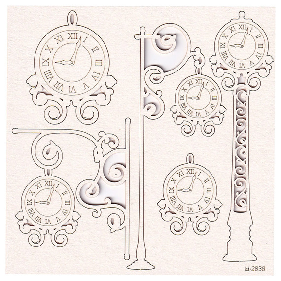Chipboard clocks set - Park Avenue clock mix