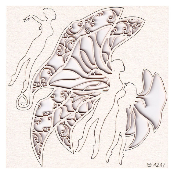 Chipboard flying butterfly fairies - Lady butterfly