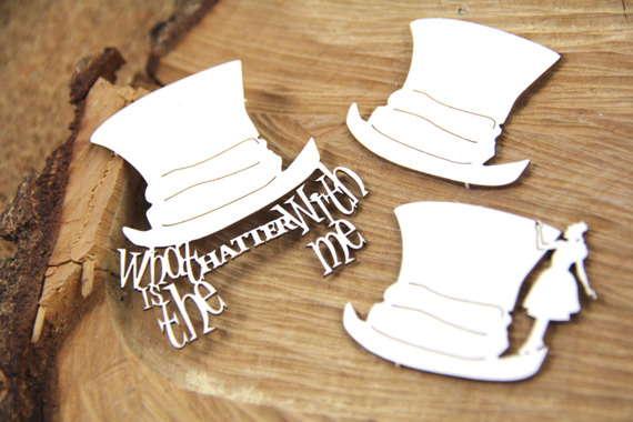 Chipboard -hats - What's the Hatter - Alice in Wonderland