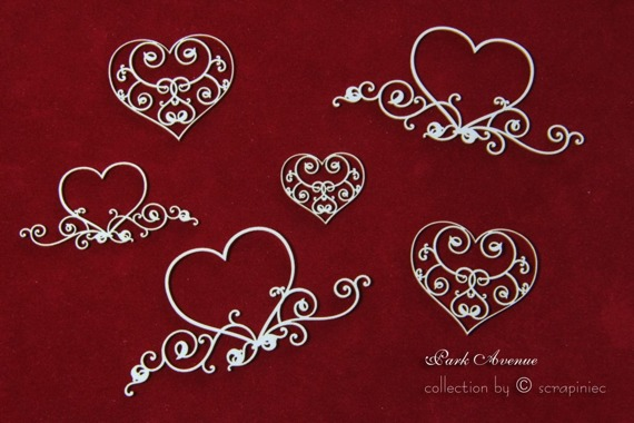 Chipboard hearts - mix set - Park Avenue