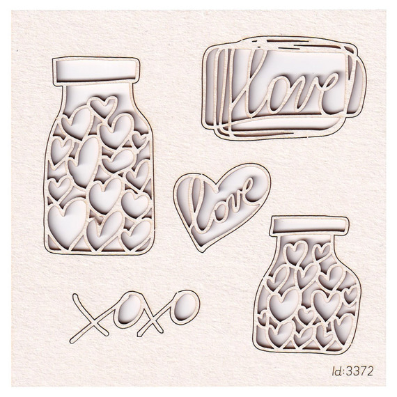 Chipboard jar with hearts - Brush art elements